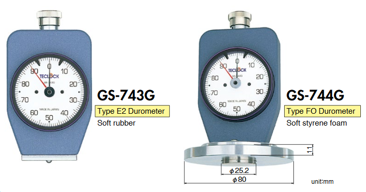 Đồng hồ đo độ cứng cao su Durometer Teclock GS-743G, Teclock GS-744G, Teclock GSD-743K, Teclock GSD-744K