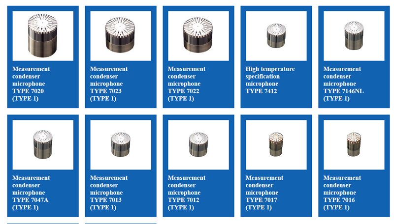 Measurement condenser microphone Aco 7020, Aco 7023, Aco 7022, Aco 7412, Aco 7146NL, Aco 7047A, Aco 7013, Aco 7012, Aco 7016, Aco 7017, Aco 7116, Aco 7118