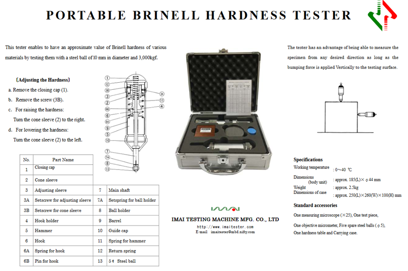 IMAI PORTABLE BRINELL HARDNESS TESTER