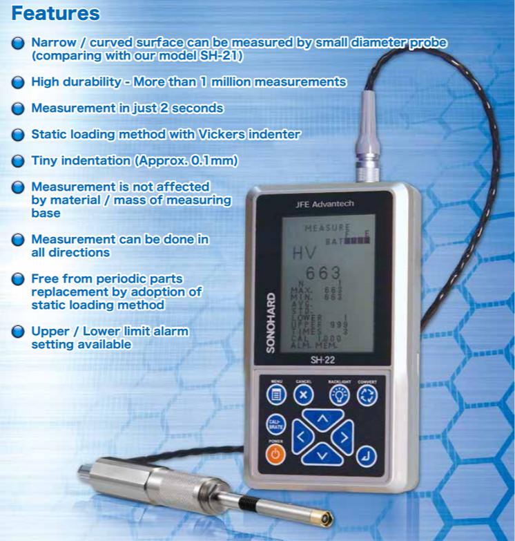 Máy đo độ cứng siêu âm JFE Advantech Sonohard SH-22-E1 Ultrasonic hardness tester